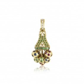 Yellow Gold Bell With Diamond And Multi-Gemstones Pendant
